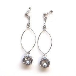 "<img src=""dangle-silver-hoop-and-swarovski-crystal-invisible-clip-on-earrings-non-pierced6.jpg"" alt=""pierced look and comfortable Dangle Silver Hoop and Swarovski Crystal Invisible Clip On Earrings, Non Pierced Earrings, Large Hoop Silver Clip Earrings, Gifts For Her""/>"