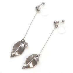 "<img src=""dangle-silver-leaf-and-crystal-invisible-clip-on-earrings-non-pierced-earrings11.jpg"" alt=""pierced look and comfortable dangle silver leaf and crystal invisible clip on earrings non pierced earrings""/>"