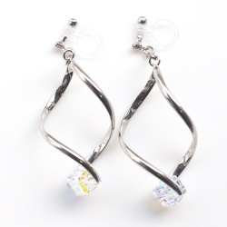 "<img src=""dangle-silver-wave-motif-aurora-borealis-swarovski-crystal-invisible-clip-on-earrings8.jpg"" alt=""pierced look and comfortable Dangle Silver Aurora Borealis Swarovski Cube Crystal Invisible Clip On Earrings, Pierced Look Comfortable Clip-ons, Non Pierced Earrings""/>"