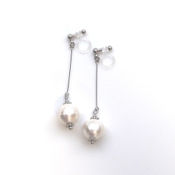 "<img src=""dangle-silver-white-cotton-pearl-invisible-clip-on-earrings-non-pierced-earrin"" alt=""pierced look and comfortable Dangle White Cotton Pearl Invisible Clip On Earrings, Bridal Pearl Clip Earrings, Wedding Clip-On Earrings""/>"