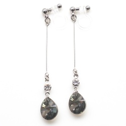 "<img src=""dangle-swarovski-black-iridescent-crystal-invisible-clip-on-earrings10.jpg"" alt=""pierced look and comfortable Wedding bridal Dangle Green Black Crystal Swarovski Invisible Clip On Earrings non pierced earrings""/>"