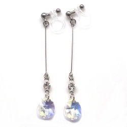 "<img src=""dangle-teardrop-10mm-ab-aurora-borealis-swarovski-crystal-invisible-clip-on-earrings15.jpg"" alt=""pierced look and comfortable Wedding bridal Dangle clear swarovski crystal invisible clip on earrings non pierced earrings""/>"