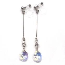 "<img src=""dangle-teardrop-10mm-ab-aurora-borealis-swarovski-crystal-invisible-clip-on-earrings15.jpg"" alt=""pierced look and comfortable Wedding bridal Dangle clear swarovski crystal invisible clip on earrings non pierced earrings""/>"