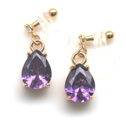 "<img src=""dangle-teardrop-purple-amethyst-cubic-zirconia-crystal-invisible-clip-on-earrings4.jpg"" alt=""pierced look and comfortable Teardrop Purple Cubic Zirconia Invisible Clip On Earrings, Dangle Crystal Clip Earrings, Non Pierced Earrings, Comfortable Clip-on Earrings""/>"