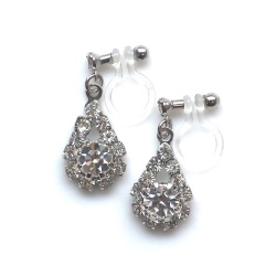 Dangle Teardrop Rhinestone and Crystal Invisible Clip On Earrings, Non Pierced Earrings, Bridal Crystal Clip On Earrings