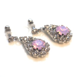 Dangle Teardrop Rhinestone and Pink Opal Crystal Invisible Clip On Earrings, Non Pierced Earrings, Bridal Crystal Clip On Earrings