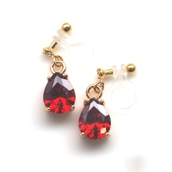 Teardrop Ruby Cubic Zirconia Invisible Clip On Earrings, Dangle Red Crystal Clip Earrings, Non Pierced Earrings,Comfortable Clip-on Earrings