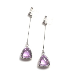 silver tone dangle triangle light pink crystal invisible clip on earrings