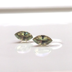 diamond shape luminous green light green yellow swarovski crystal invisible clip on earrings