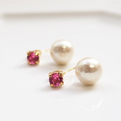 Double Sided Pink Red Rose Swarovski Crystal & Light Beige Cotton Pearl Titanium Earrings for Sensitive Ears, Double Pearl Earrings
