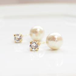 Double Sided Swarovski Crystal & Light Beige Cotton Pearl Titanium Earrings for Sensitive Ears, Hypoallergenic Double Pearl Earrings