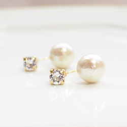 Double Sided Swarovski Crystal & Light Beige Cotton Pearl Titanium Earrings for Sensitive Ears, Hypoallergenic Double Pearl Earrings