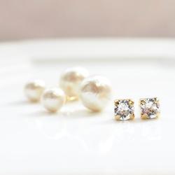 4 Way! Double Sided Swarovski Crystal & Light Beige Cotton Pearl Titanium Earrings for Sensitive Ears, Double Pearl Earrings, Triabal