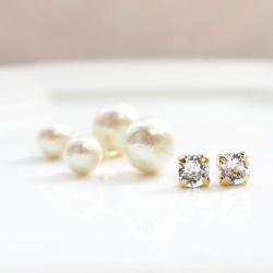 4 Way! Double Sided Swarovski Crystal & Light Beige Cotton Pearl Titanium Earrings for Sensitive Ears, Double Pearl Earrings, Triabal