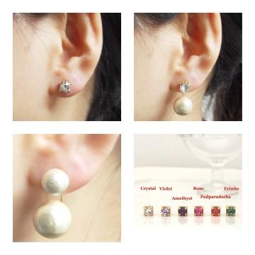 Double sided swarovski crystal & light beige cotton pearl titanium earrings hypoallergenic 4