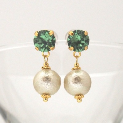 Erinate Swarovski crystal and golden cotton pearl earrings