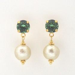 Erinate Swarovski crystal and golden light beige Japanese cotton pearl earrings