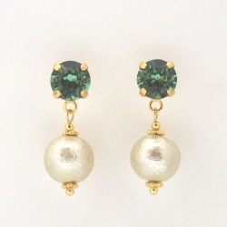 Erinate Swarovski crystal and golden light beige Japanese cotton pearl earrings