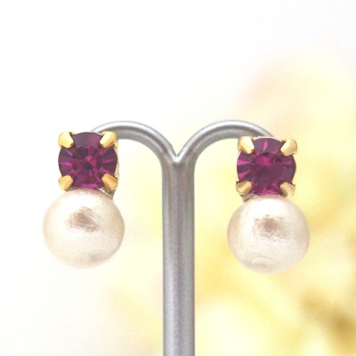Totally Invisible Clip on Earrings: Fuchsia Swarovski and Light Beige Japanese Cotton Pearl Invisible Clip on Earrings