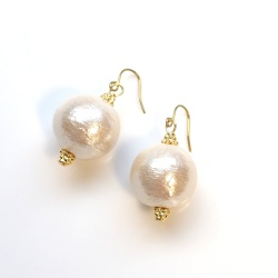 Super Large 16mm 14mm Light Beige and White Japanese Cotton Pearl Titanium Earrings for Sensitive Ears, Bridal Pearl Earrings,Hypoallergenic