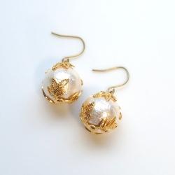 Veil: Classy and Elegant 12 mm Pink Cotton Pearl Earrings, Titanium Earrings for Sensitive Ears, Bridal Pearl Earrings, Hypoallergenic