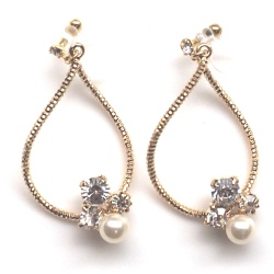 """<img src=""""gold-twisted-hoop-swarovski-crystal-pearl-invisible-clip-on-earrings4.jpg"""" alt=""""pierced look and comfortable wedding bridal dangle gold hoop with swarovski crystal and pearl invisible clip on earrings""""/>"""