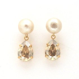golden shadow swarovski crystal and light beige Japanese cotton pearl earrings_MiyabiGrace (2)