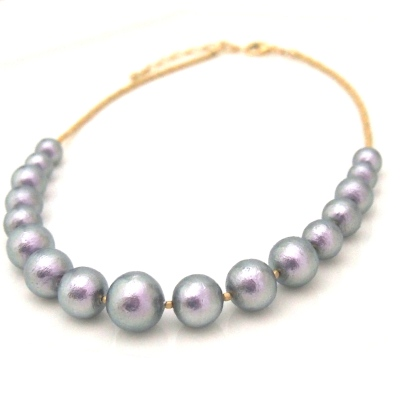 Graduated rich gray Japanese cotton pearl necklace