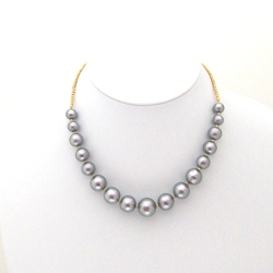 Graceful rich gray graduated Japanese cotton pearl necklace with matt gold beads