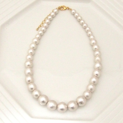 Graduated White Japanese Cotton Pearl Necklace