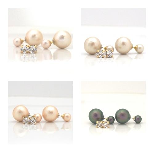 Japanese double cotton pearl earrings MiyabiGrace