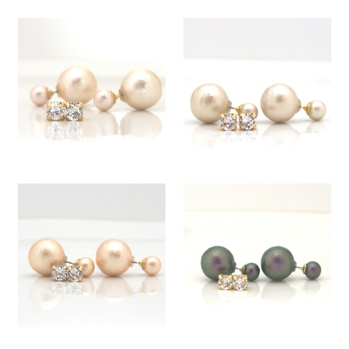 Japanese double cotton pearl earrings MiyabiGrace