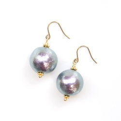 Dangle 14 mm Large Rich Gray Japanese Cotton Pearl Titanium Earrings for Sensitive Ears, Hypoallergenic Earrings, Tahitian pearls style