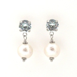 Light azore Swarovski crystal and white Japanese cotton pearl earrings