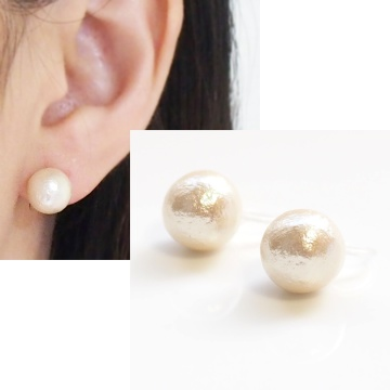 light beige cotton pearl stud invisible clip on earrings non pierced earrings