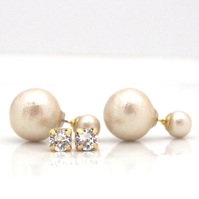 Light beige Japanese double cotton pearl earrings
