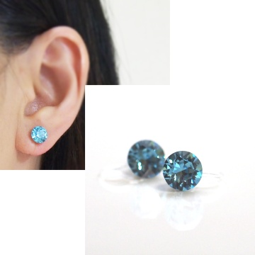 light blue aquamarine swarovski crystal invisible clip on earrings non pierced earrings 2