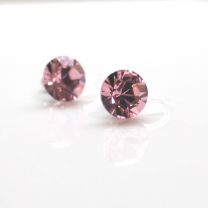 2 ways 8 mm & 6 mm Light Rose Swarovski Crystal Invisible Stud Clip on Earrings