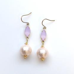 Light Purple Diamond Bijou & Pink Cotton Pearl Titanium Earrings for Sensitive Ears, Wedding Pearl Earrings, Hypoallergenic earrings