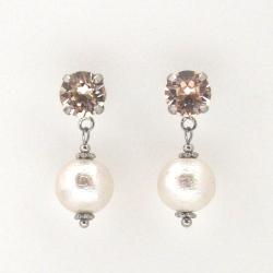 Light silk Swarovski crystal and white Japanese cotton pearl earrings