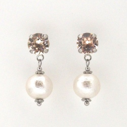 Light silk Swarovski crystal and white Japanese cotton pearl earrings