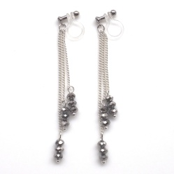 "<img src=""long-dangle-silver-metallic-black-beaded-invisible-clip-on-earrings-miyabigrace51.jpg"" alt=""pierced look and comfortable dangle metallic black beads and silver chains invisible clip on earrings MiyabiGrace""/>"