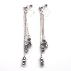 "<img src=""long-dangle-silver-metallic-black-beaded-invisible-clip-on-earrings-miyabigrace51.jpg"" alt=""pierced look and comfortable dangle metallic black beads and silver chains invisible clip on earrings MiyabiGrace""/>"