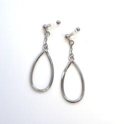 "<img src=""minimalist-silver-hoop-invisible-clip-on-earrigs-dangle-hoop-clip-ons5.jpg"" alt=""pierced look and comfortable Dangle Teardrop Silver Hoop Invisible Clip On Earrings""/>"
