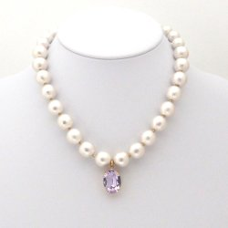 White Japanese cotton pearl necklace with violet swarovski crystal charm