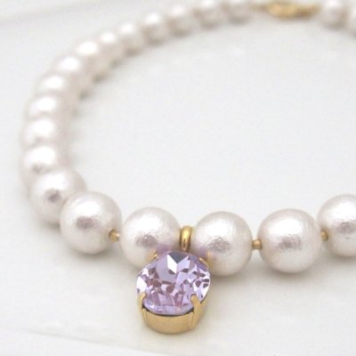 White Japanese cotton pearl necklace with violet swarovski crsytal