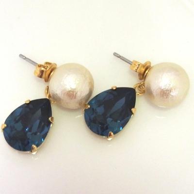 Montana Swarovski Crystal and Japanese cotton pearl earrings_MiyabiGrace (1)
