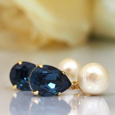 Montana Swarovski Crystal and Japanese cotton pearl earrings_MiyabiGrace (2)