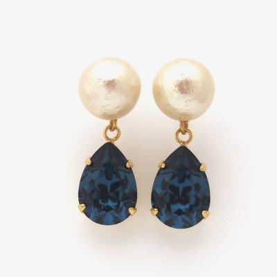 Montana Swarovski Crystal and Japanese Cotton Pearl Earrings