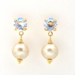 Moon light Swarovski crystal and light beige Japanese cotton pearl earrings